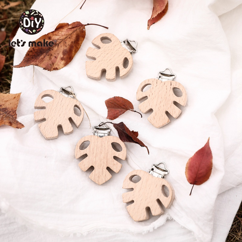 Let's Make 10pc Beech Wooden Baby Pacifier Clip Cartoon Plant Leaves BPA Free Pacifier Clip Holder Baby Wood Teether Baby Goods