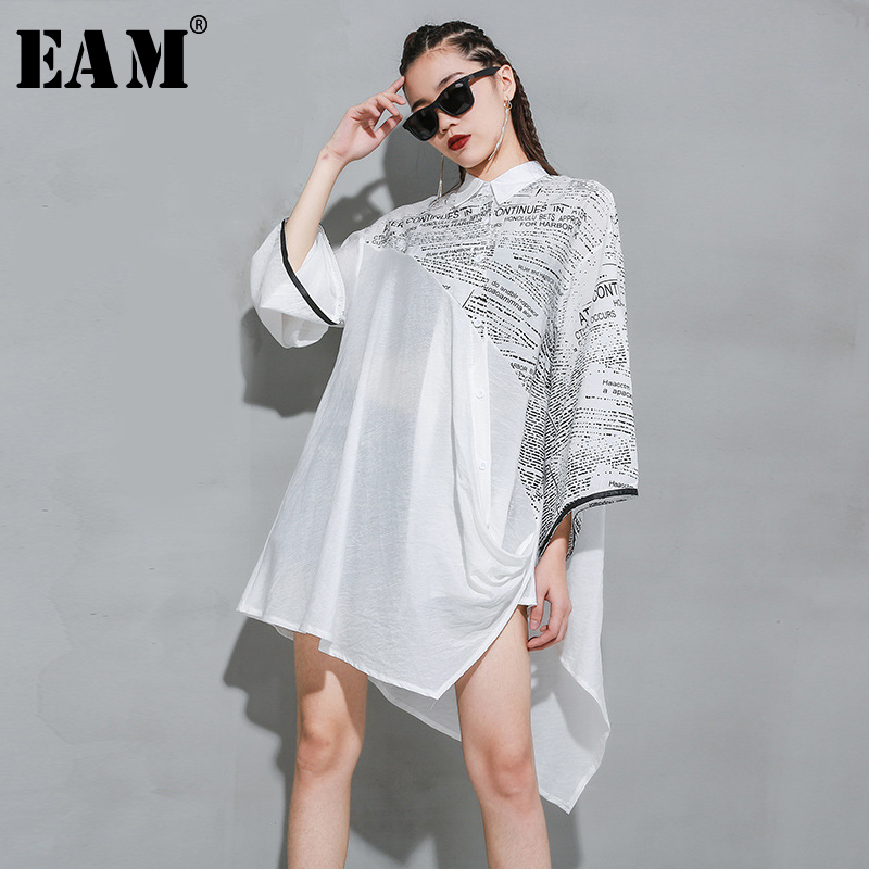 [EAM] Women Asymmetrical Back Chiffon Stitch Blouse New Lapel Long Sleeve Loose Fit Shirt Fashion Tide Spring Autumn 2020 1R937