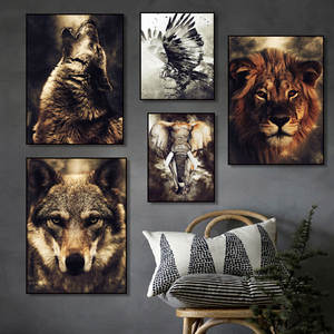 Canvas Painting Watercolor Wolf Wall-Pictures Eagle Nordic Posters Lion Prints Living-Room