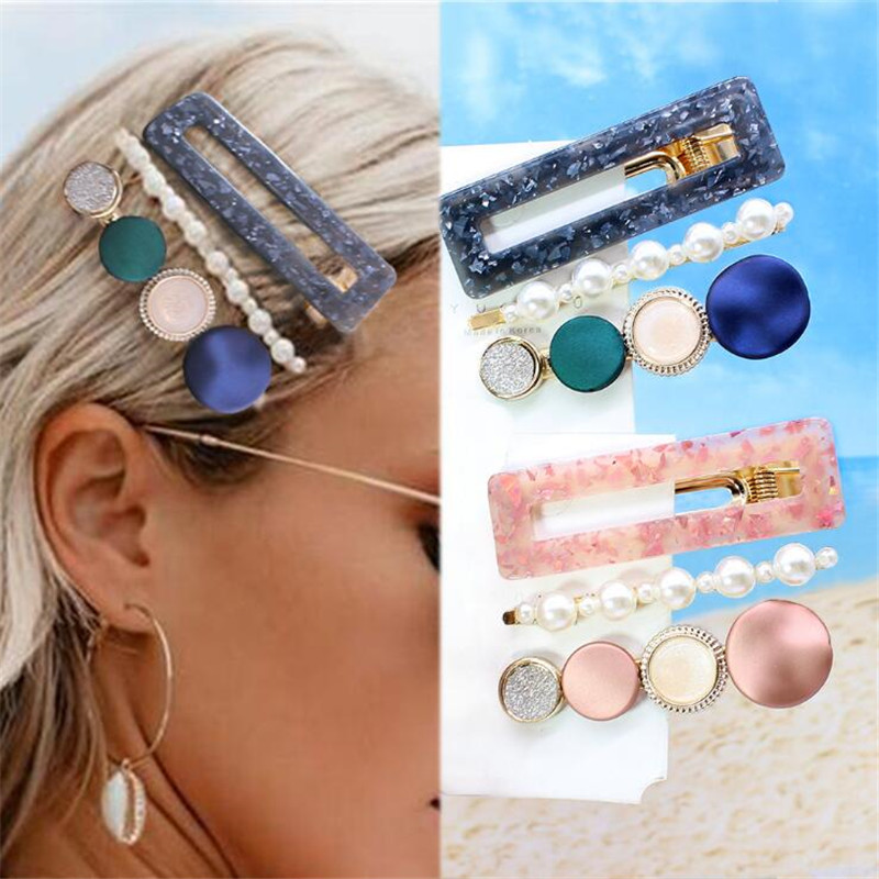 3PCS/Set New Fashion Pearls Acetate Geometric Hair Clips For Women Girls Headband Sweet Hairpins Barrettes Hair Accessories Set