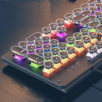 Gaming Mechanical Keyboard punk Round Retro Keycap Backlit USB Wired English for PC Laptop 3