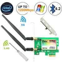 Ubit Bluetooth WiFi carte ca 1200Mbps 7265 sans fil WiFi PCIe carte réseau 5 GHz/2.4 GHz double bande PCI Express carte réseau