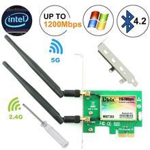 Ubit bluetooth無線lanカードac 1200 150mbps 7265ワイヤレスwifi pcieネットワークアダプタカード5/2.4デュアルバンドpci expressネットワークカード