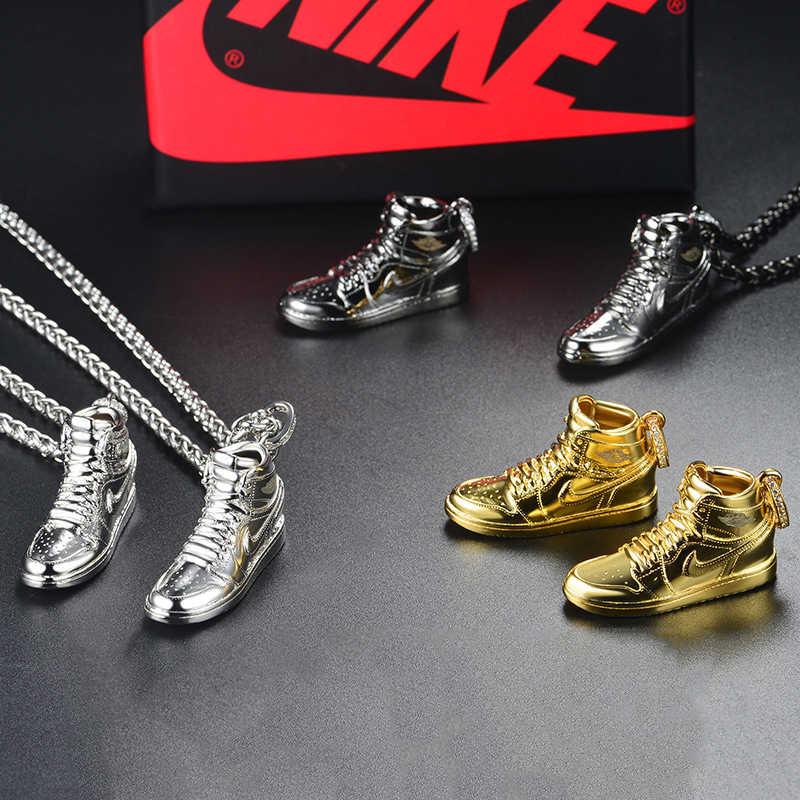 925 пробы, серебряный, золотой, черный AJ Air Shoe Jordan мини-кроссовки с подвеской в стиле хип-хоп, длинная цепочка, ожерелье, модные ювелирные изделия