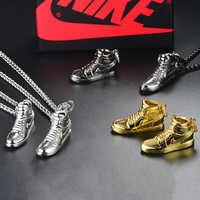 925 Sterling Silver Gold Black AJ Air Shoe Jordan Mini Sneaker Model Pendant Hip Hop Long Chain Necklace Fashion Jewelry