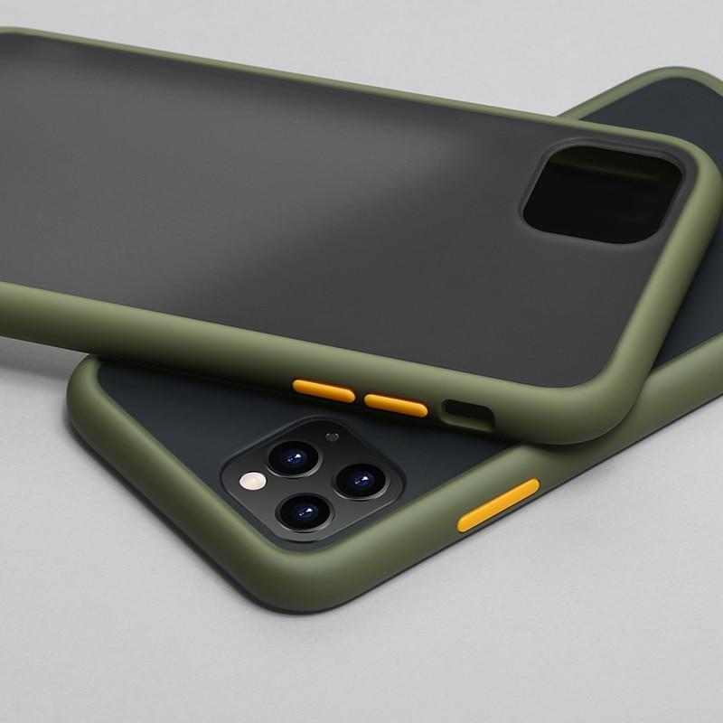 N1986N чехол для телефона для iPhone 11 Pro X XR XS Max 7 8 Plus роскошный контрастный цвет рамка Матовый Жесткий PC защитный чехол для iPhone 11 чехол - Цвет: Army Green