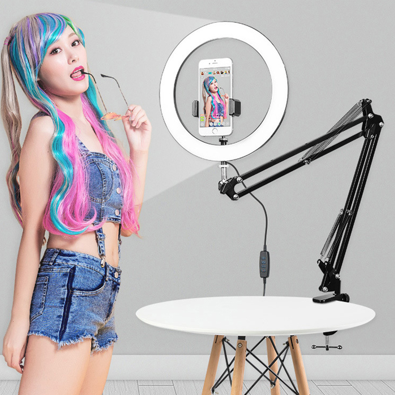 phone LED Selfie Ring Light Dimmable Photography Lighting  Video For Youtube Camera With Long Arm Desktop Table Phone Holder