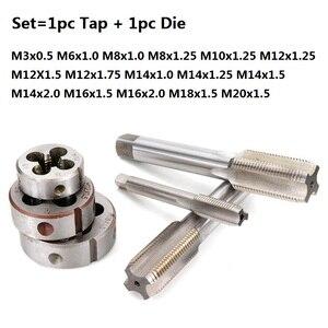 XCAN 2pcs M3 M6 M8 M10 M12 M14 M16 M18 M20 Left Hand Machine Tap and Die Set Metric Screw Thread Tap Drill Machine Plug Tap Die