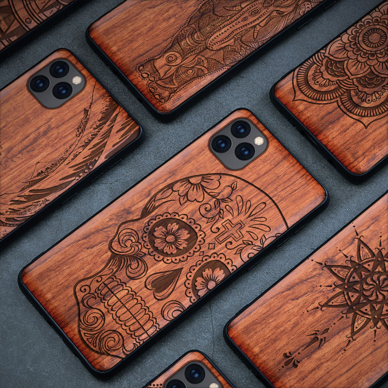 Wood Carved Case For iPhone 11 Pro XS Max 7 XR 8 6s Plus 5s SE Luxury Pattern Skull 100% Natural Full Wooden Mobile Back Covers