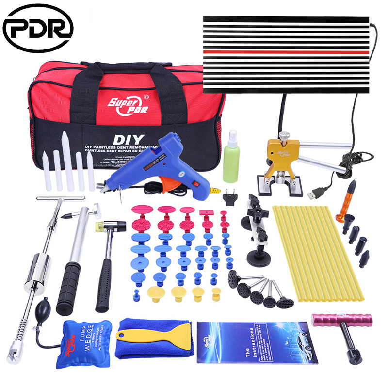 Nástroje PDR Paint Paint Dent Repair Tools Dent Removal Kit LED Reflector Board Dent Puller Glue Sticks Hand Tool Set ferramentas