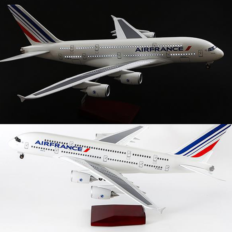 50cm 1/160Scale Air France Airline <font><b>Model</b></font> Airplane <font><b>Airbus</b></font> <font><b>A380</b></font> Aircraft <font><b>Model</b></font> Resin Plane WIth Light and Wheels For Collection image
