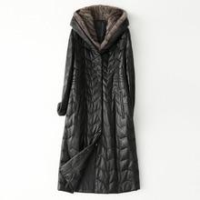 หนังลงเสื้อผู้หญิงฤดูหนาวMink Hoodieสีดำกระเป๋าขนาดใหญ่ของแท้หนังแจ็คเก็ตPlusขนาดหลวมคุณภาพสูงOutwear