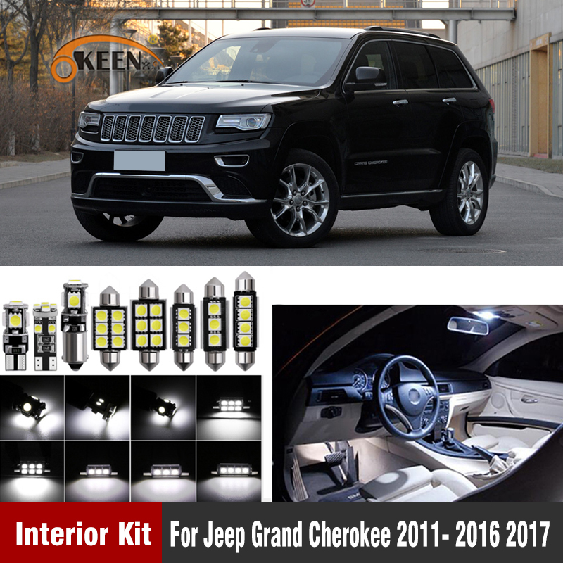 13Pcs White Canbus T10 W5W Led Car Interior Lights Kit For Jeep Grand Cherokee 2011- 2016 2017 Led Interior Dome Trunk Lights