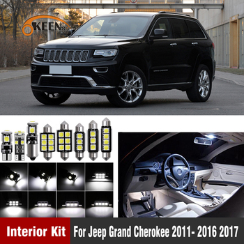 13Pcs White Canbus T10 W5W Led Car Interior Lights Kit for Jeep Grand Cherokee 2011- 2016 2017 Led Interior Dome Trunk Lights 6x white canbus led car interior lights package kit for 2003 2016 2017 2018 2019 toyota corolla led interior dome trunk lights
