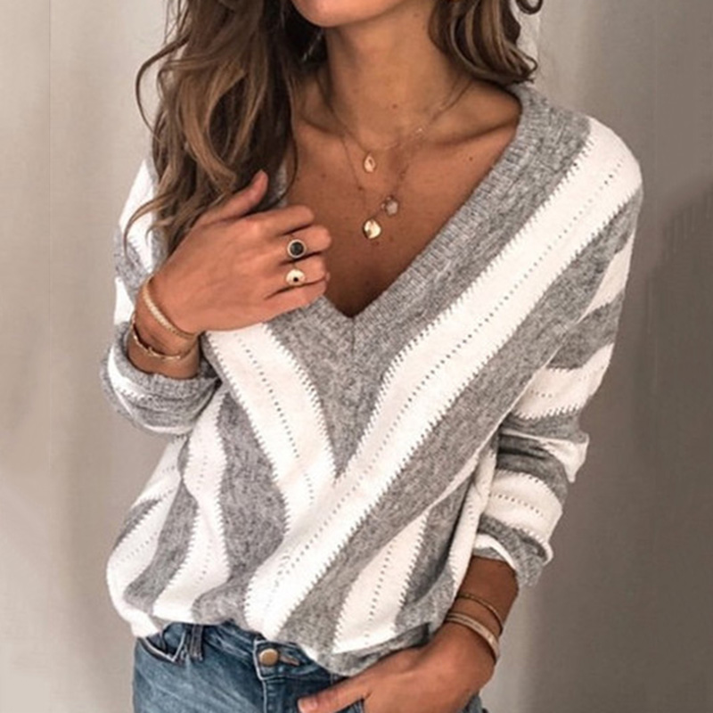 Plus Size Knitted Sweater Women V-neck Spring Autumn Pullover Women Top Korean Casual Stripe Sweaters Female Jumper 2019 DR1174
