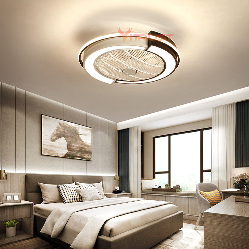 Modern Ceiling Fan Lights Dining Room Bedroom Living Remote Control Fan Lamps Invisible Ceiling Lamp Fan Lighting Small 110v 220