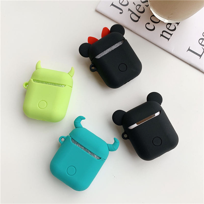 Image 5 - Bluetooth Earphone Case for Airpods 2 Accessories Protective Cover Bag Anti lost Strap Cute Cartoon Mini DIY Silicone Soft Cases-in Earphone Accessories from Consumer Electronics