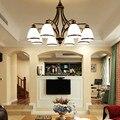 Vintage loft Europese Stijl Olie Gewreven Brons 3-Licht 5-licht 6 licht 8 licht Kroonluchter Glas Shades metalen Lamp
