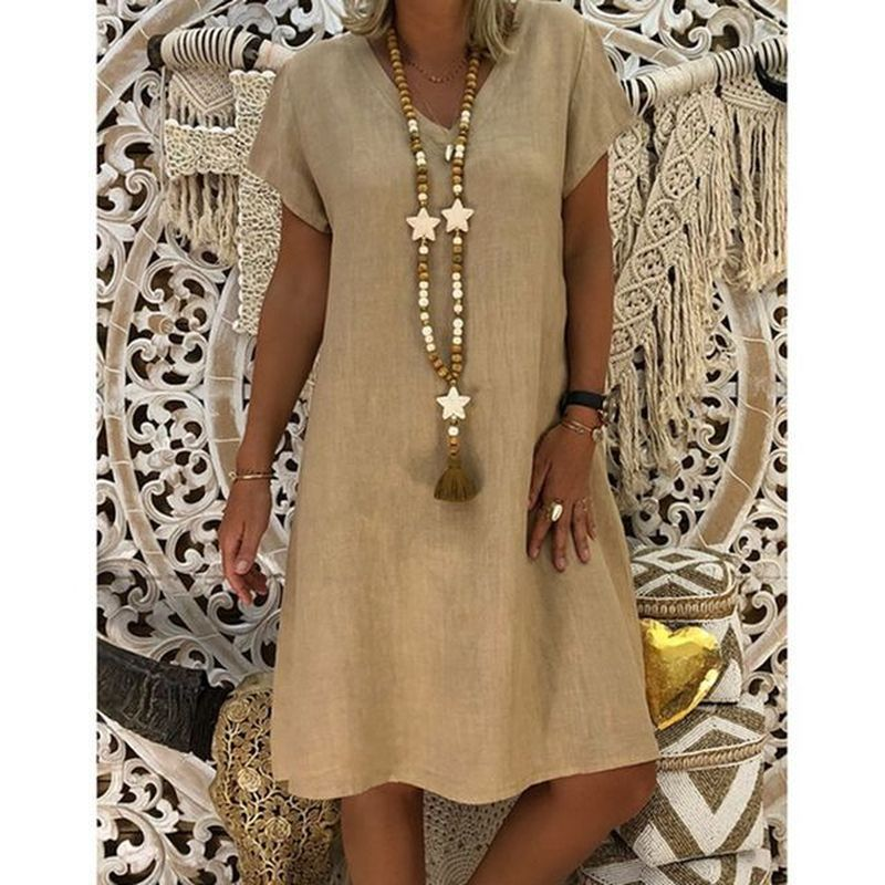 Cotton Pregnancy Dress Women Summer Style Casual Plus Size Ladies Linen Maternity Clothes