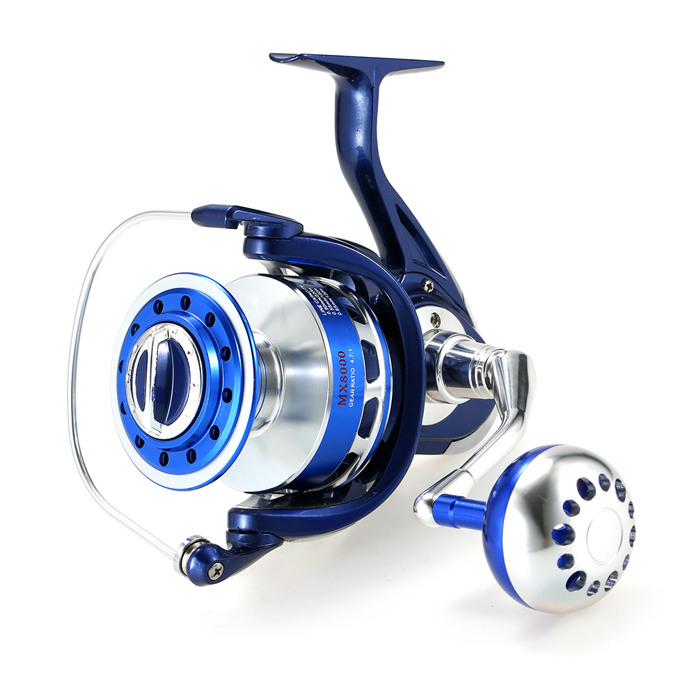 4.7:1 Full Metal Body Spool Fishing Reels 12+1BBs Spinning Fishing Reel 8000 Serises Super Smooth Right/Left Coils for Pesca image