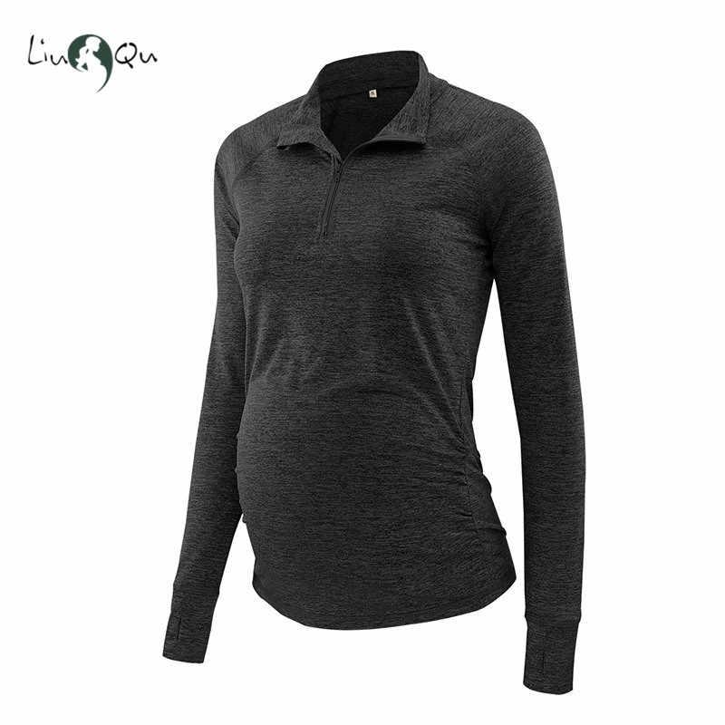 إمرأة الملابس الأمومة أعلى طويلة الأكمام الحمل قميص سستة أسفل الحوامل بلوزة بولو ممسوك تونك قمم قصان رياضية