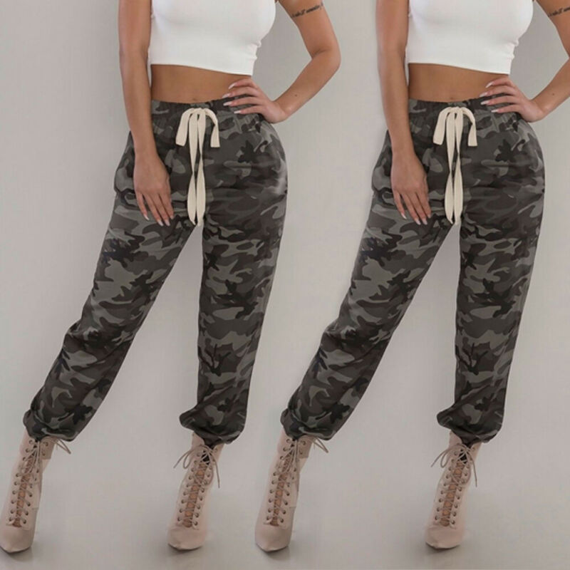 Womens Camo Trousers Sexy Straps Camouflage Tight Fitting Stretch Pants Casual Hip-hop Military Army Combat Camouflage Pants
