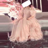 Verngo-Vestidos largos de Organza para baile de graduación, elegantes vestidos de princesa con mangas abullonadas y rubor claro de Arabia Saudita, sin tirantes, longitud hasta el suelo