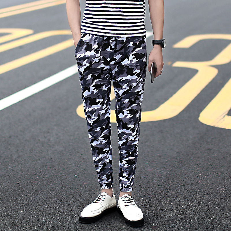 2018 Summer Thin Section Teenager Slim Fit Camouflage Pants Men Skinny Casual Harem Pants Trousers