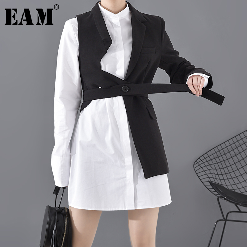 [EAM]  Women Black Asymmetrical Two Pieces Blazer New Lapel Long Sleeve Loose Fit  Jacket Fashion Spring Autumn 2020 1N90401S