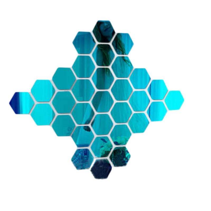 12PCs/Set DIY 3D Mirror Wall Sticker Hexagon Home Decor Mirror Decor Stickers Art Wall Decoration Stickers Multi-color Drop ship 6