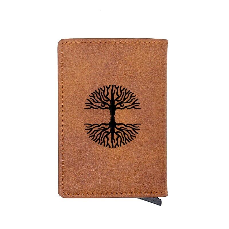 Vintage Brown Tree of Life Design Leather Aluminium Card Wallet Charm Women Mini Short Purse Birthday Gift