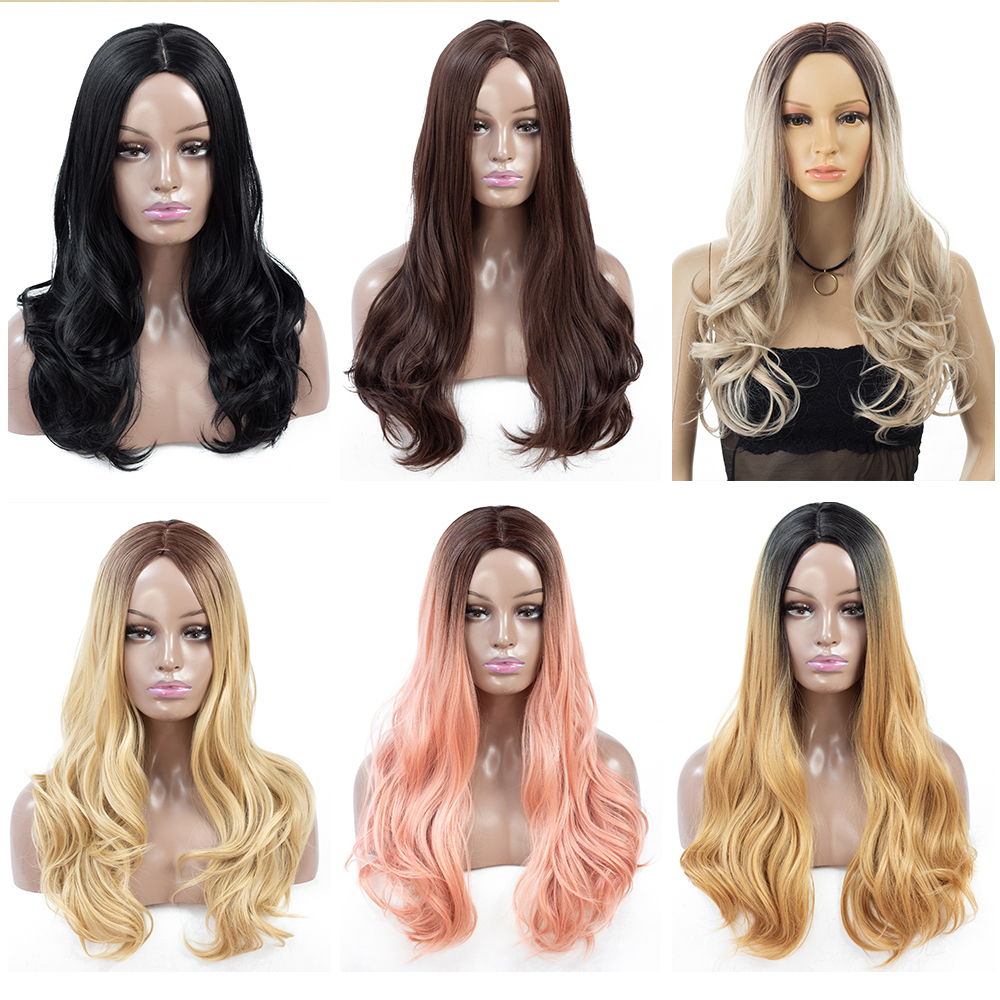 ZYR Women Wig Long Body Wave Heat Resistan Synhtetic Fiber Black Pink Ombre Color African American