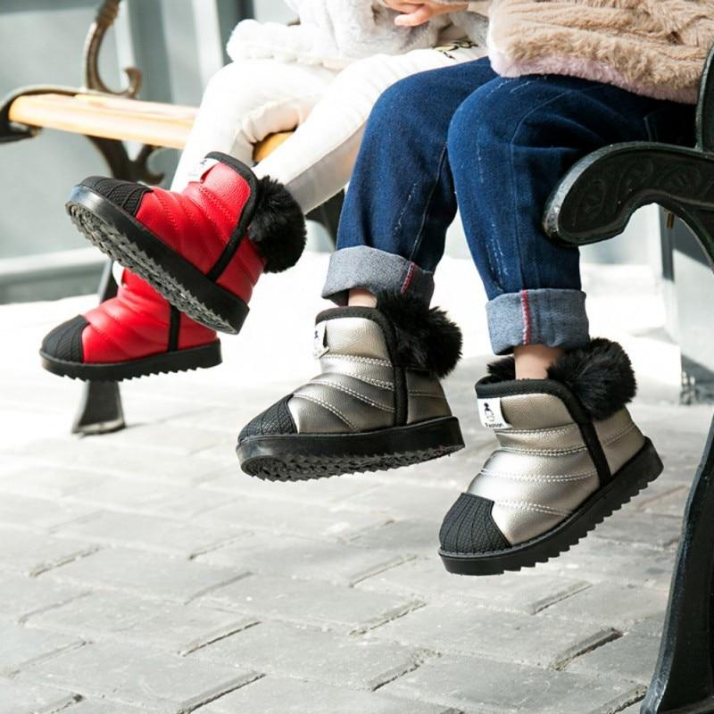 Children Kids Boys Girls Winter Waterproof Boots Thick Warm Anti-Slip PVC PU Plus Velvet Shoes