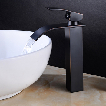 Luxury Bathroom Waterfall Faucet Antique Sink Brass Wide Flowing Hot and Cold Mixer Tap Deck Mounted Basin Torneira Contemporary 12