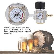 Soda CO2 Mini gaz regülatörü 0 90PSI Keg şarj cihazı ile T21 * 4 konu Sodastream co2 şişe taslak bira Kegerator soda