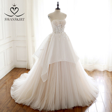 Swanskirt aplikler boncuklu düğün elbisesi straplez çiçekler kolsuz A Line Lace up prenses gelin kıyafeti vestido de noiva A247