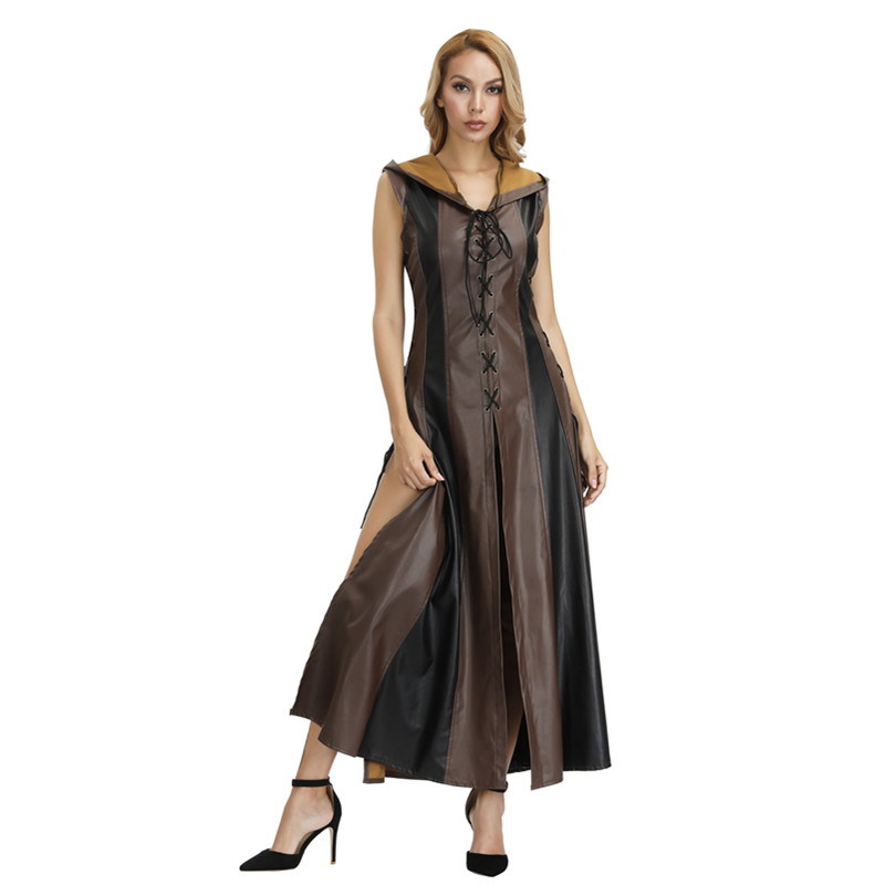 Women Archer Cosplay Costume with Hooded Faux Leather Long Dress Sleeveless Medieval Adult Halloween Costume Warrior Suit