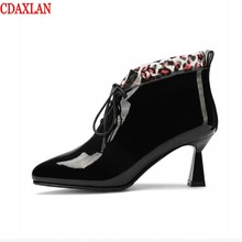CDAXILAN new to womens short boots genuine cow patent leather Cross straps martin pointed toe spike-heels ankle