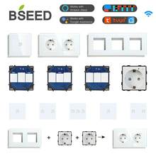 Bseed wi fi interruptores de luz parede painel vidro peças branco inteligente toque interruptores função peças tomada de energia da ue