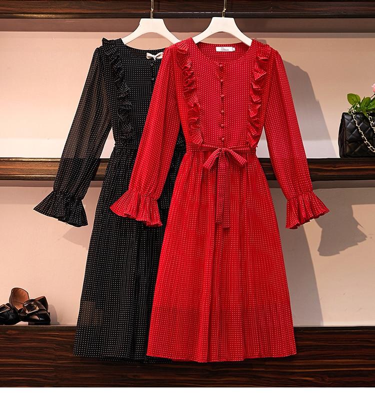 HAMALIEL automne femmes en mousseline de soie robe plissée 2019 mode grande taille volants Dot imprimer robe rouge doux Flare manches ceinture Vestidos