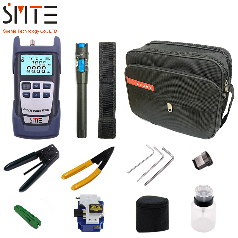 12 PCS/set Fiber Optic FTTH Tool Kit with SKL-8A Fiber Cleaver and Optical Power Meter 5km Visual Fault Locator Wire stripper