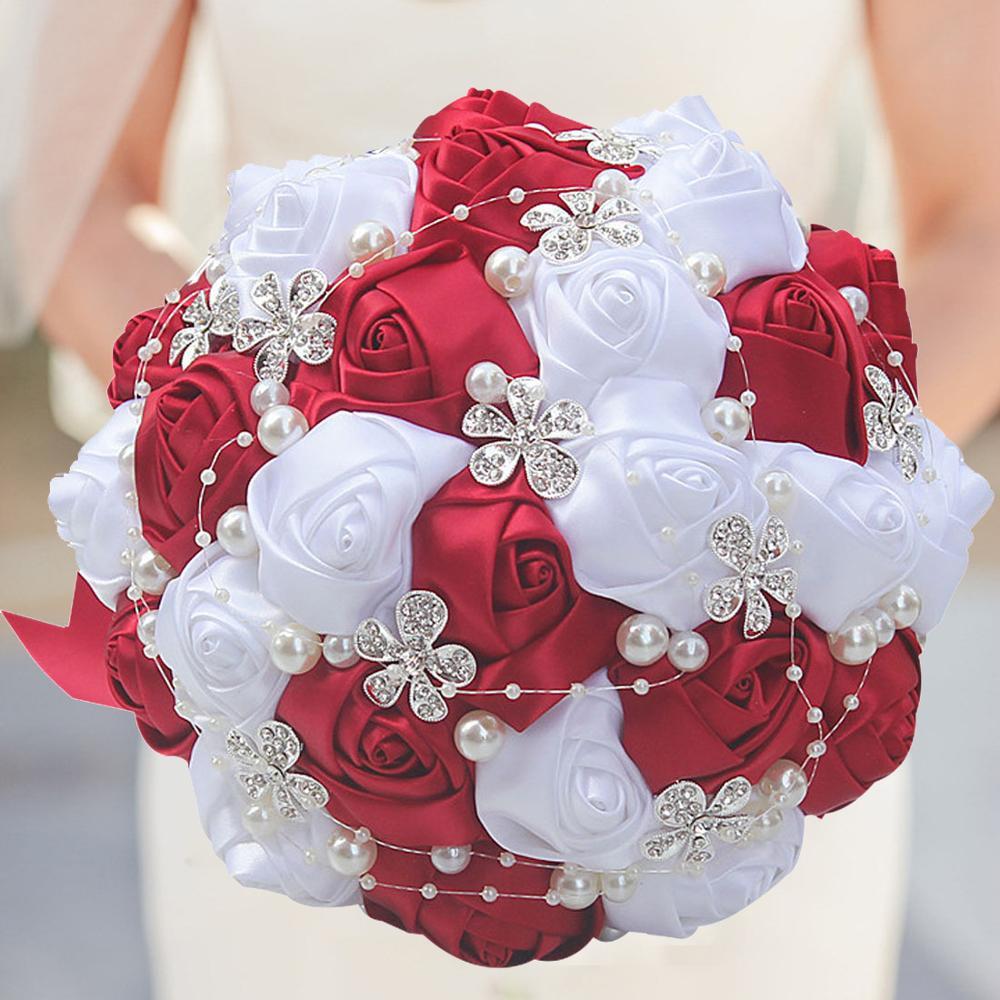 WifeLai-A Black Ivory Silk Artificial Flower Bridal Bouquets Crystal Pearls Bridesmaid Bridal Wedding Bouquets Color Choose W224