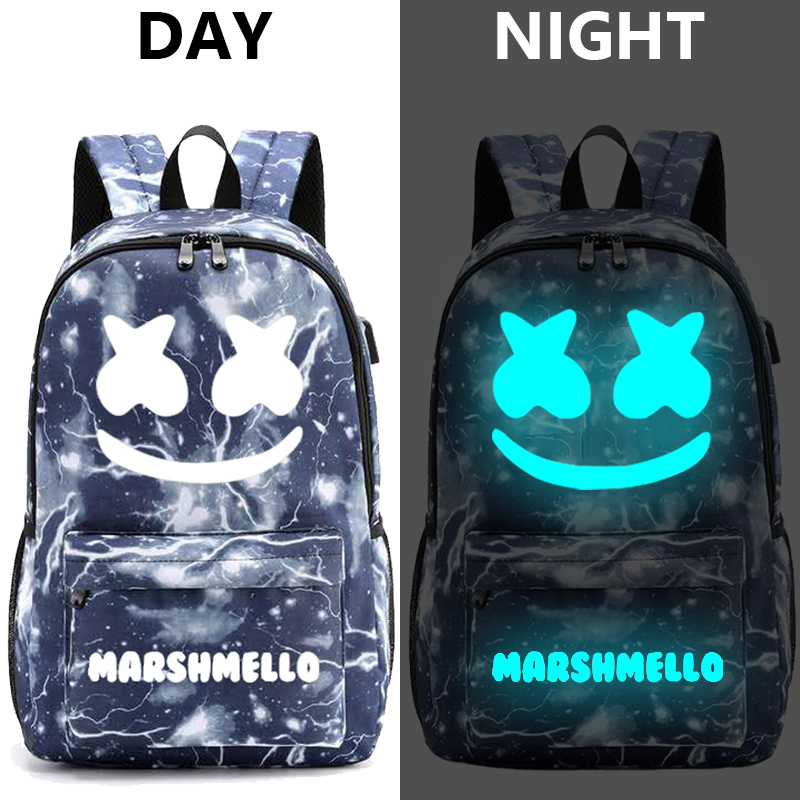 Image 3 - Canvas Luminous Waterproof DJ Marshmello Anti theft Laptop Backpack for Teenager Boys Girls Student School Backpack Men Womenbag-in Backpacks from Luggage & Bags