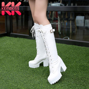 KemeKiss 2020 Plush size 34-43 Sexy high heels Knee-High Boots Woman Platform Winter women's Shoes add Fur Snow Boot footwear(China)