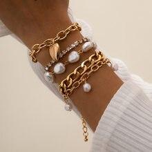 KMVEXO – Bracelet à chaînes de perles irrégulières pour femmes, style Baroque, Hip Hop, pendentif cœur, chaîne en cristal, ensemble de bijoux à main