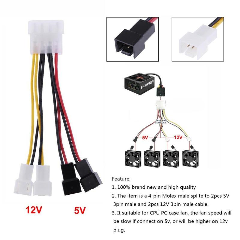 1pcs Computer Fan Power Cable 4-Pin Molex to 3-Pin Power Supply Fan Connection Cord Adapter Connector 12v*2 / 5v*2 For PC