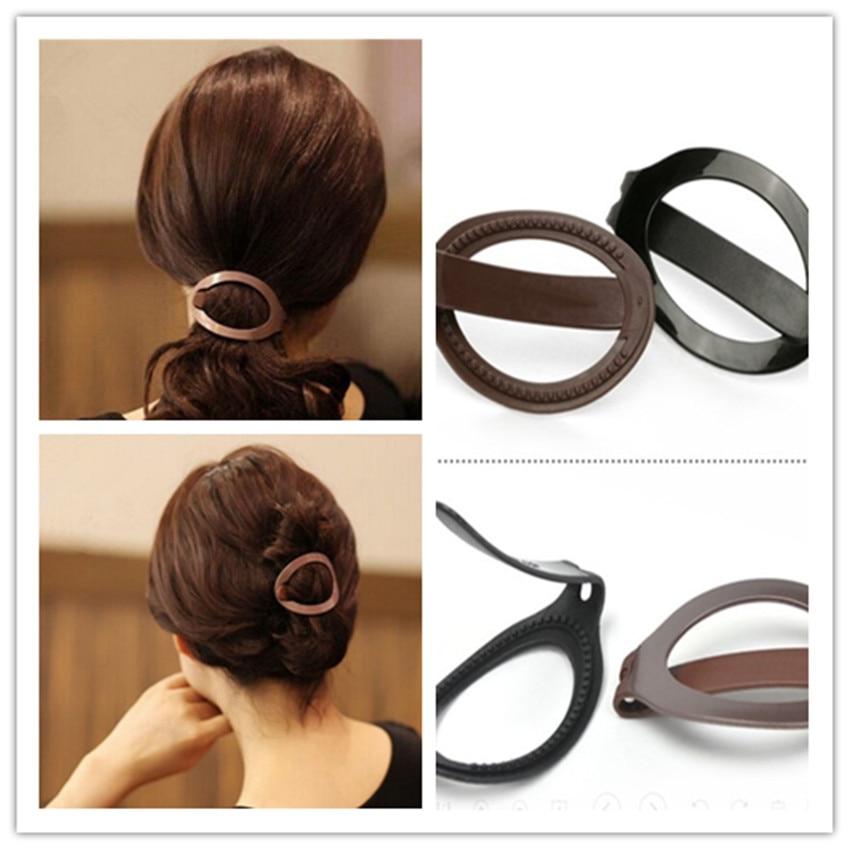 1pc Women Girls Soft Plastic Hair Clip Bun Maker Barrette Styling Tool New Fashion Hair Accessories Black / Brown New Arrival