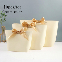 10pcs Present Paper Wedding Gift Bag Decorations Recyclable Pouch Party Favor DIY With Handles Birthday Bow Ribbon