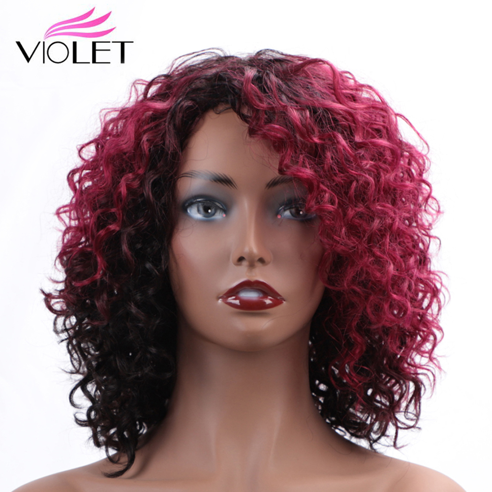 VIOLET Brazilian Deep Wave Medium Ratio 10 Inch Non-Remy Short Human Wigs For Black Women 100% Human Hair Wig Ombre Colors