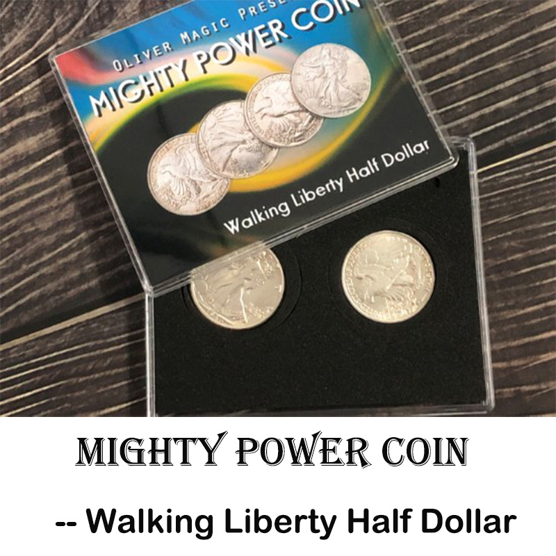 Mighty Power Coin (Walking Liberty Half Dollar) Magic Tricks Coin Transfer Move Through Magia Close Up Illusions Gimmick Props